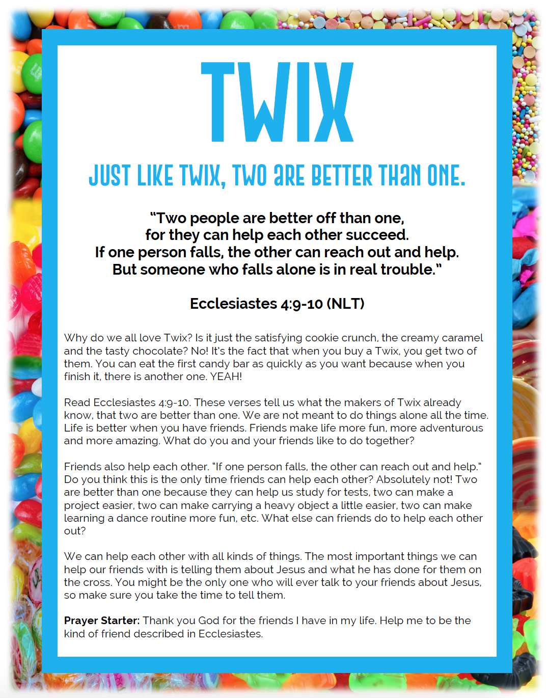 image relating to Printable Devotions known as Twix Sweet Devotional Printable Further KidMin